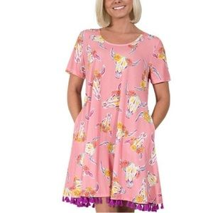 Simply Southern Floral Wild Bull Skull Dress NWT